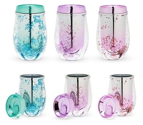Mermaid Glitter Stemless Wine Tumbler by Blush® (Assorted Colors)
