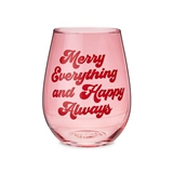 Merry Everything and Happy Always 20oz Stemless Wine Glass by Blush
