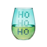 """HO HO HO"" 20oz Stemless Wine Glass by Blush"