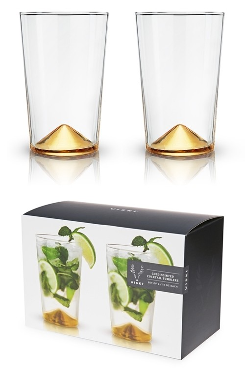 Belmont: Gold-Pointed Glass Cocktail Tumblers by VISKI (Set of 2)