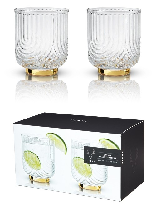 Belmont: Gatsby Glass Art Deco Tumblers by VISKI (Set of 2)