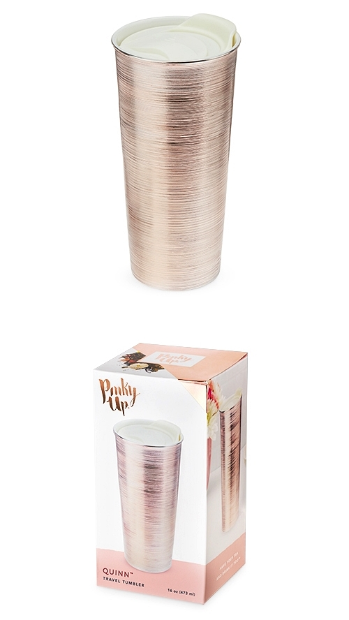 Quinn™ Rose Gold Ceramic Travel Tumbler by Pinky Up