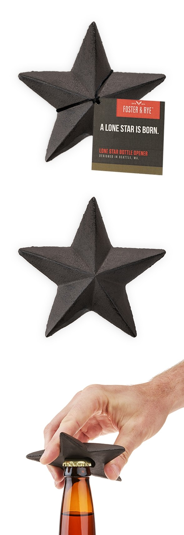 Cast-Iron Lone Star Bottle Opener by Foster & Rye