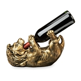 Antiqued Bronze Lion Wine Bottle Holder by True