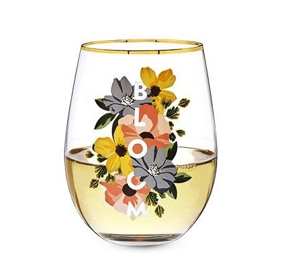 """BLOOM"" Gold Rim Stemless Wine Glass by Twine"