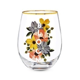 """BLOOM"" Gold Rim Stemless Wine Glass by Twine"