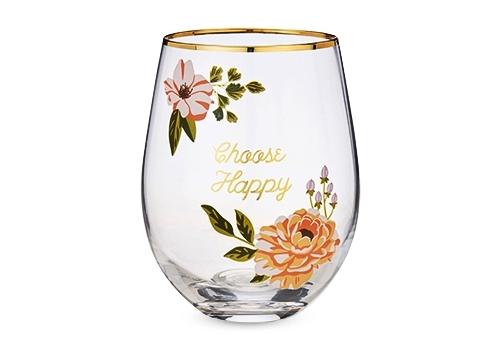 Choose Happy Stemless Wine Glass by Twine