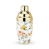 Watercolor Floral Motif Cocktail Shaker with Gold-Plated Cap by Twine