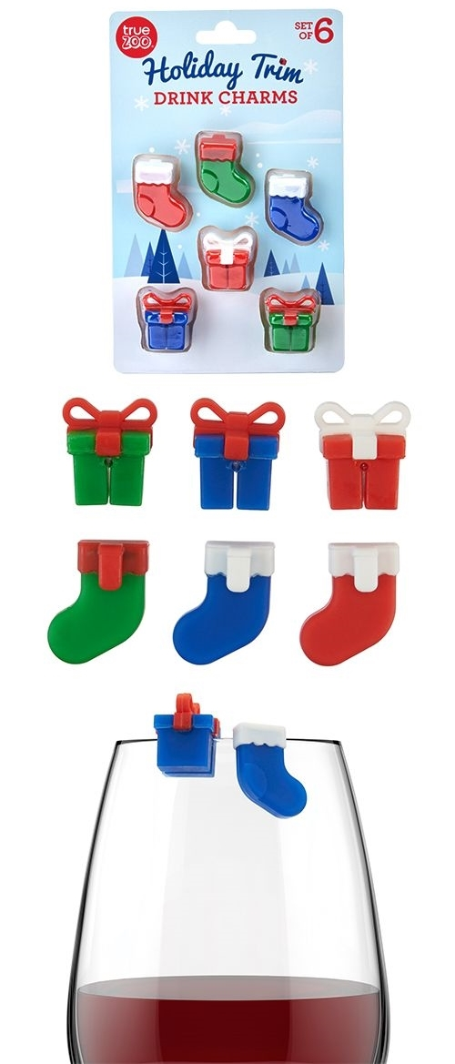 """Holiday Trim"" Drink Charms by TrueZOO (Set of 6)"