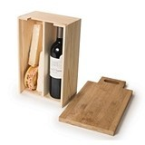 Rackpack 'Say Cheese' Bamboo-Wood Gift-Box with Cutting Board Lid