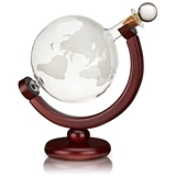Globe Liquor Decanter with Etched World Map on Wooden Stand by VISKI