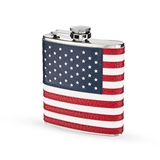 Stainless-Steel with Vegan-Leather-Wrapped American Flag Flask by True