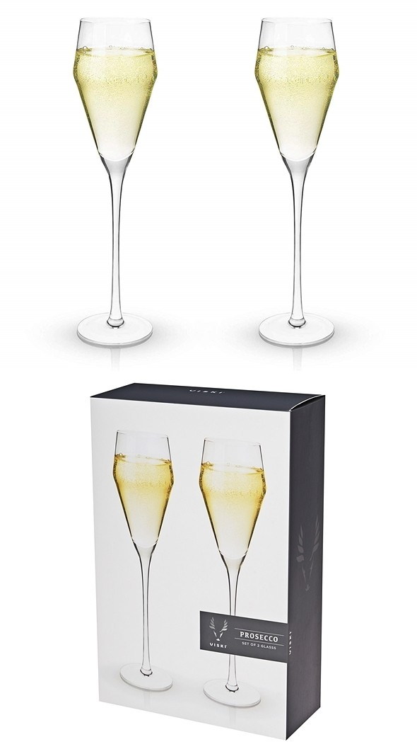 Raye: Lead-Free Crystal Prosecco Glasses by VISKI (Set of 2)
