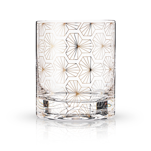 Art Deco Zenith Design 10oz Lead-Free Crystal Tumbler by VISKI