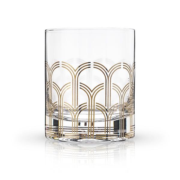 Art Deco Hairpin Design 10oz Lead-Free Crystal Tumbler by VISKI