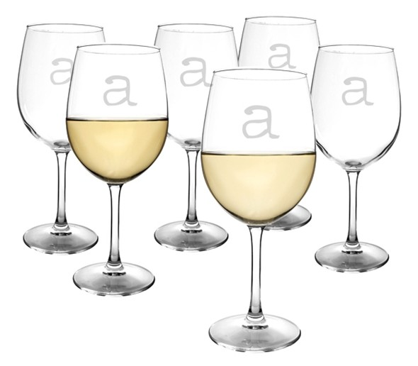 Vintage-Type-Font Personalized 13 oz. White Wine Glasses (Set of 6)