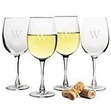 Stunning Monogrammed 19 oz. White Wine Glasses (Set of 4)
