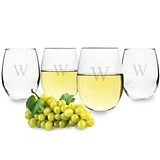 Sleek Personalized 21 oz. Stemless Wine Glasses (Set of 4)
