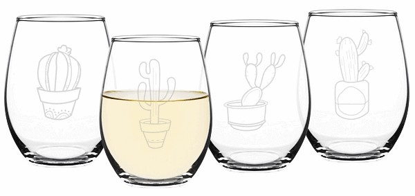 Cathy's Concepts Cactus Motif 21 oz Stemless Wine Glasses (Set of 4)