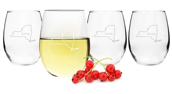 9aaa36a5a50 My Home State Collection Stemless 21 oz. Wine Glasses (Set of 4)