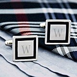 Monogrammed Black Border Designer Cuff Links