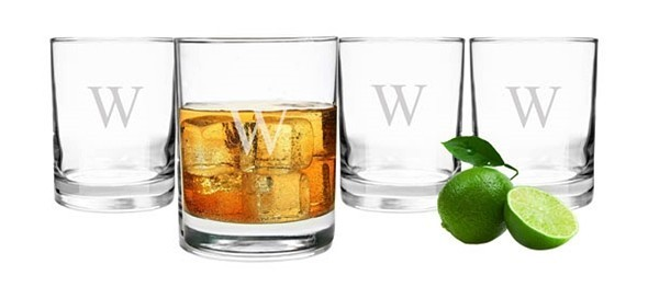 Engraved Double Old-Fashioned 14 oz. Tumbler Glasses (Set of 4)