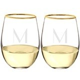 Personalizable 19.25 oz. Gold-Rimmed Stemless Wine Glasses (Set of 4)