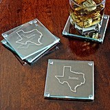 My Home State Collection Engraved Glass Coasters (Set of 4)