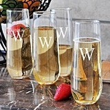 Stunning Personalized 8.5 oz. Stemless Champagne Flutes (Set of 4)