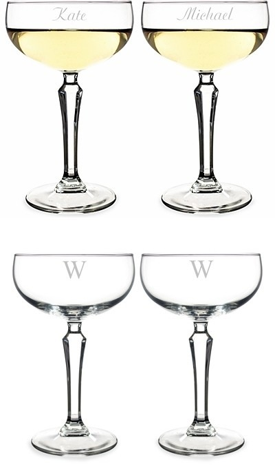 Personalized Oz Champagne Coupe Toasting Flutes Set