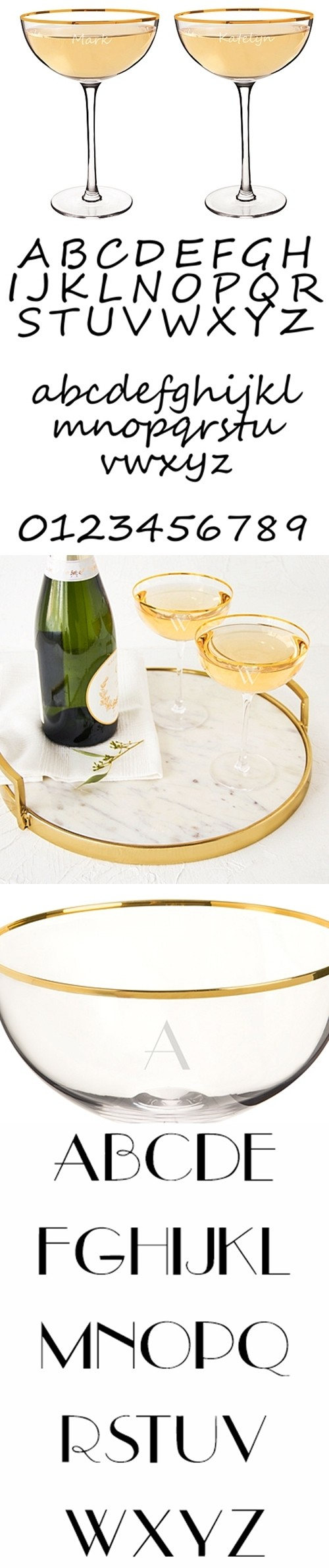 Cathy's Concepts Personalized 8 oz Gold-Rimmed Coupe Flutes (Set of 2)