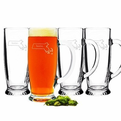 My Home State Collection Engraved 18 oz. Craft Beer Glasses (Set of 4)