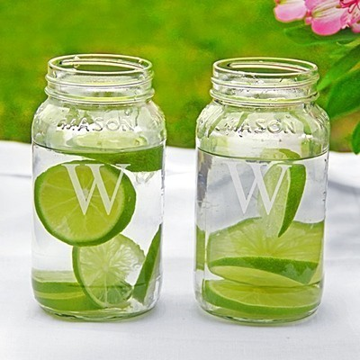 Cathy's Concepts Personalized 26 oz. Large Mason Jars (Set of 2)