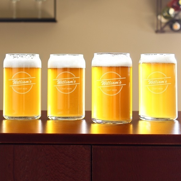 Cathy's Concepts Personalized 16 oz. Home Brew Can Glasses (Set of 4)