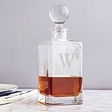 Personalized 32 oz. Square Whiskey Decanter with Glass-Domed Stopper