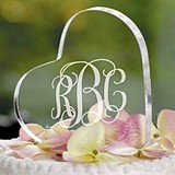 Beautiful Personalized Acrylic Heart-Shaped Cake Topper