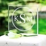 Modern Monogrammed Square Acrylic Cake Topper