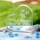 Beach-Themed Personalized Acrylic Heart-Shaped Cake Topper