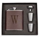 Cathy's Concepts Personalized Leather-Wrapped Flask Set (Black/Brown)