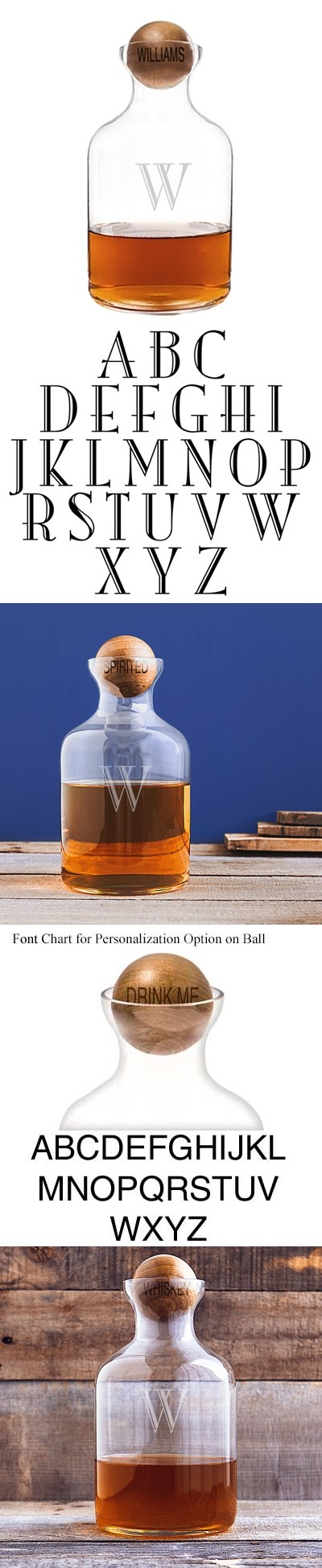 Personalized 56 oz. Round Glass Decanter with Wood Stopper