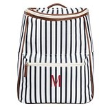 Cathy's Concepts Personalized White-and-Navy Striped Backpack Cooler