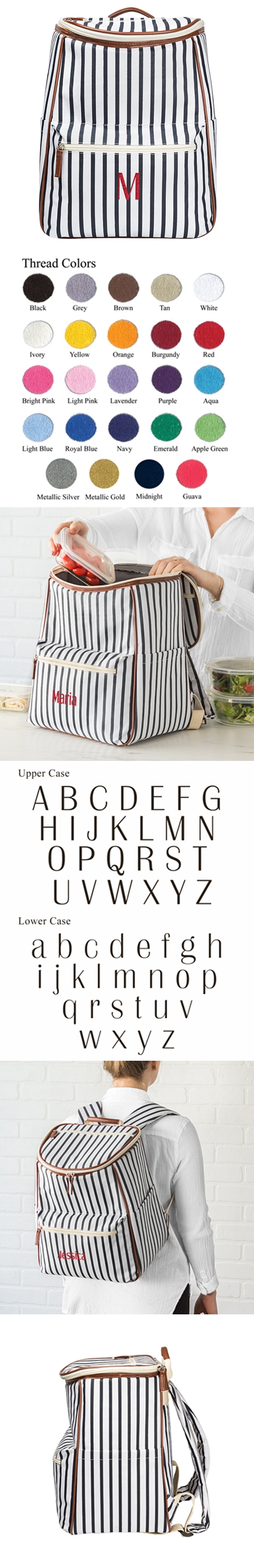 Cathy s Concepts Personalized White-and-Navy Striped Backpack Cooler ... 50d00d1c503c8