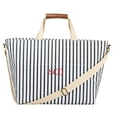 Cathy's Concepts Personalized White-and-Navy Striped Large Cooler Tote
