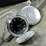 Cathy's Concepts Timeless Black-Faced Silver-Plated Pocket Watch