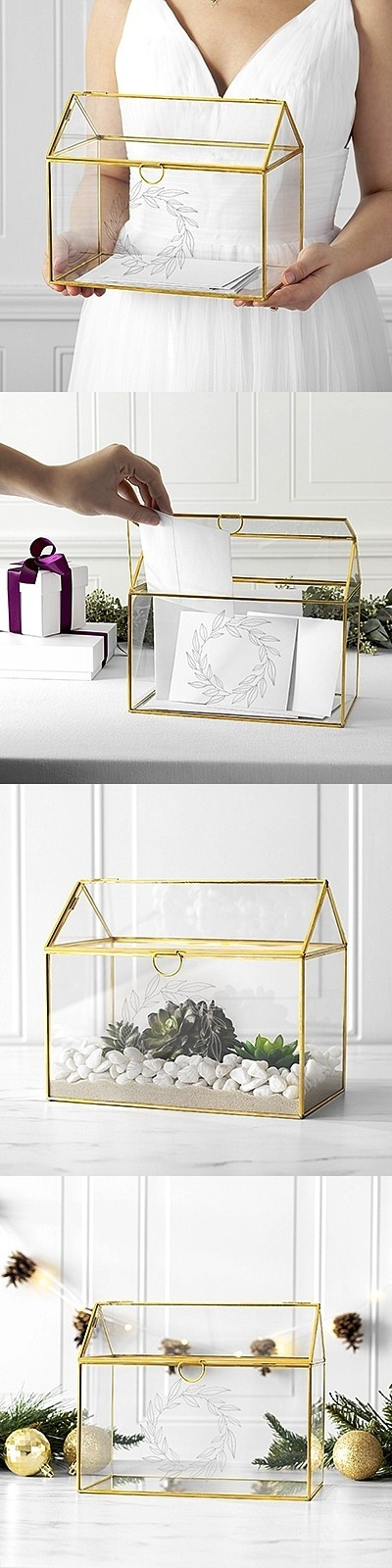 Cathy's Concepts Wreath Design Glass Terrarium Gift Card Holder in Gold