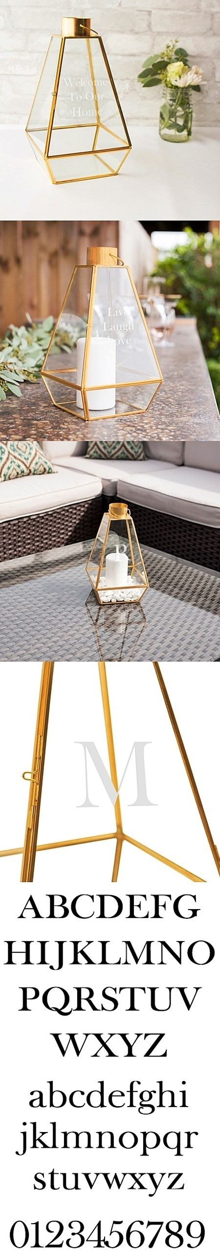 Cathy's Concepts Personalizable Gold-Colored-Metal-Frame Glass Lantern