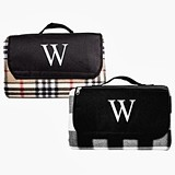 Personalized Plaid Picnic Blanket with Carrying Handle (2 Colors)