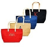 Stylish Natural-Fiber Nantucket Tote Bag w/ Leather Handles (4 Colors)