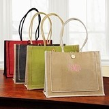 Charming Natural-Fiber Newport Tote Bag with Button Closure