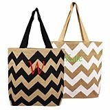 Personalized Chevron-Pattern Natural Jute Tote Bag (2 Colors)
